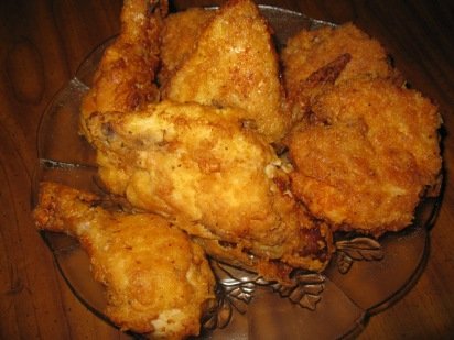 Southern Fried Chicken   Wash and dry chicken with paper towels.  beat 2 eggs with  1tbsp water.  Mix 1 1/2 cups flour and 1/2 cup corn starch. salt and pepper,  paprika, ( may add garlic powder, red pepper what ever flavors you like)  mix all together and Dip chicken in flour mixture and into egg and back into flour lay on cooling rack and let rest for about 15 min.  In  an iron skillet heat oil which in up half hway of chicken, and